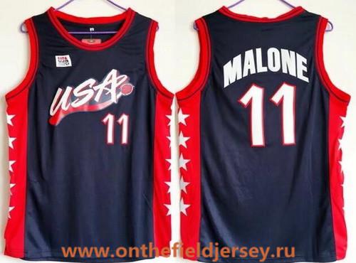 1996 Olympics Team USA Men's #11 Karl Malone Navy Blue Retro Stitched Basketball Swingman Jersey