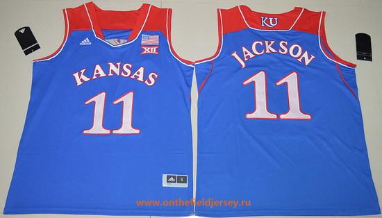 Men's Kansas Jayhawks #11 Josh Jackson Royal Blue College Basketball adidas Swingman Stitched NCAA Jersey