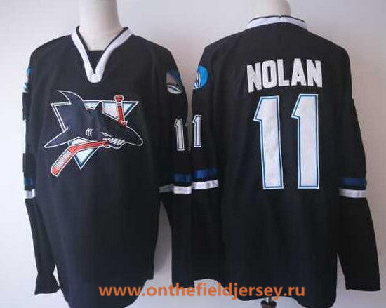 Men's San Jose Sharks #11 Owen Nolan Black CCM Vintage Stitched NHL Hockey Throwback Jersey