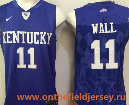 Men's Kentucky Wildcats #11 John Wall Royal Blue College Basketball 2016 Nike Swingman Stitched NCAA Jersey