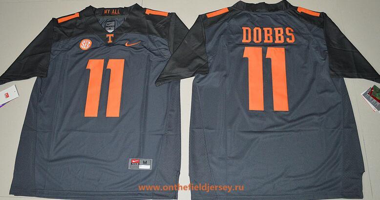 Men's Tennessee Volunteers #11 Joshua Dobbs Gray Stitched College Football 2016 Nike NCAA Jersey
