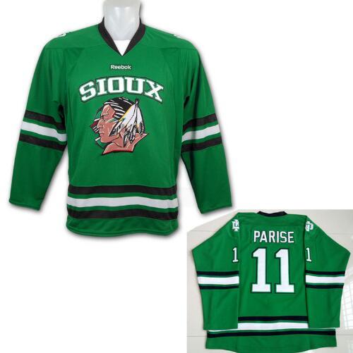 Men's North Dakota Fighting Sioux #11 Zach Parise Green Stitched College Ice Hockey Jersey