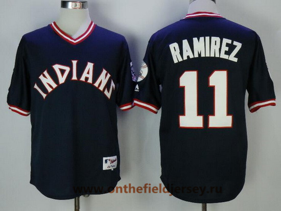 Men's Cleveland Indians #11 Jose Ramirez Navy Blue Pullover Cooperstown Collection Stitched MLB Majestic Cool Base Jersey