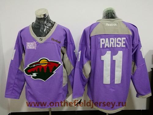 Men's Minnesota Wild #11 Zach Parise Purple Pink Hockey Fights Cancer Practice Stitched NHL Reebok Hockey Jersey