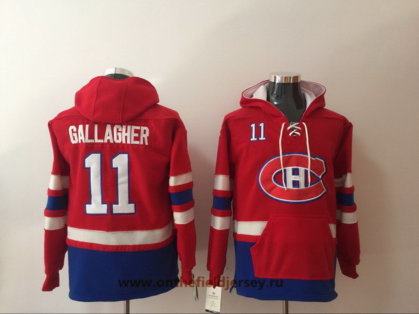 Men's Montreal Canadiens #11 Brendan Gallagher Red Pocket Stitched NHL Old Time Hockey Pullover Hoodie