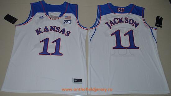 Men's Kansas Jayhawks #11 Josh Jackson White College Basketball adidas Swingman Stitched NCAA Jersey