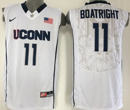 Men's Connecticut Huskies #11 Ryan Boatright White College Basketball Nike Jersey
