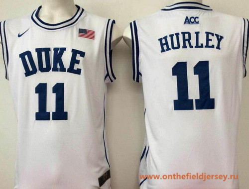 Men's Duke Blue Devils #11 Bobby Hurley White Round Collar College Basketball Stitched Nike Swingman Jersey