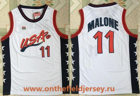 1996 Olympics Team USA Men's #11 Karl Malone White Retro Stitched Basketball Swingman Jersey