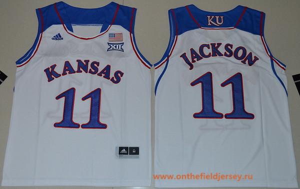 Youth Kansas Jayhawks #11 Josh Jackson White College Basketball adidas Swingman Stitched NCAA Jersey
