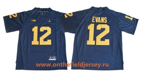 Men's Michigan Wolverines #12 Chris Evans Navy Blue College Football Stitched Brand Jordan NCAA Jersey