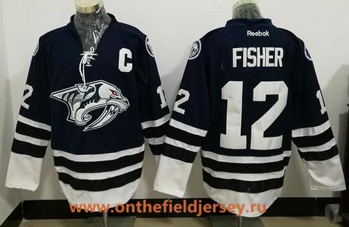 Men's Nashville Predators #12 Mike Fisher Navy Blue Third Stitched NHL Reebok Hockey Jersey