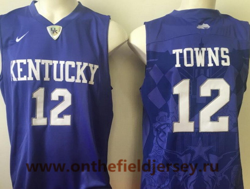 Men's Kentucky Wildcats #12 Karl-Anthony Towns Royal Blue College Basketball Stitched NCAA 2016 Nike Swingman Jersey