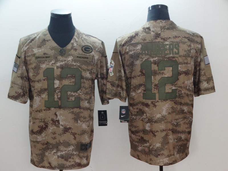 Men's Green Bay Packers #12 Aaron Rodgers Nike Camo 2018 Salute to Service Stitched NFL Limited Jersey