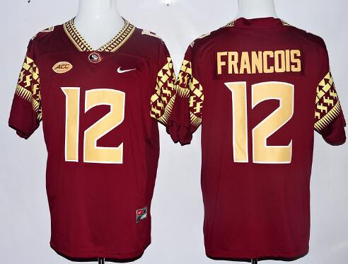 Men's Florida State Seminoles #12 Deondre Francois Red With Gold Stitched College Football 2016 Nike NCAA Jersey