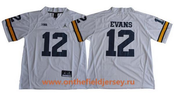 Men's Michigan Wolverines #12 Chris Evans White College Football Stitched Brand Jordan NCAA Jersey
