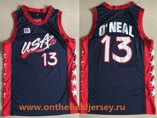 1996 Olympics Team USA Men's #13 Shaquille O'Neal Navy Blue Retro Stitched Basketball Swingman Jersey