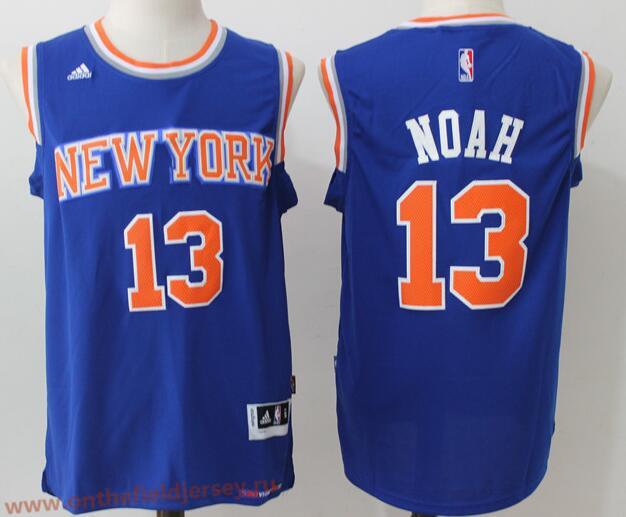 Men's New York Knicks #13 Joakim Noah Blue Stitched NBA adidas Revolution 30 Swingman Jersey