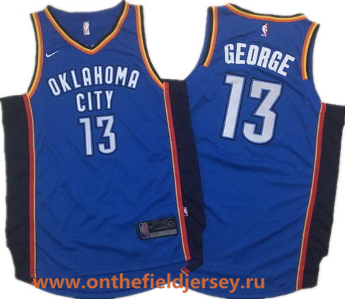 Men's Oklahoma City Thunder #13 Paul George Royal Blue 2017-2018 Nike Swingman Stitched NBA Jersey