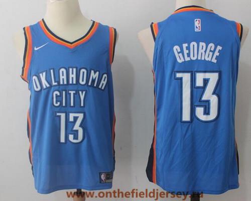 Men's Oklahoma City Thunder #13 Paul George New Royal Blue 2017-2018 Nike Swingman Stitched NBA Jersey