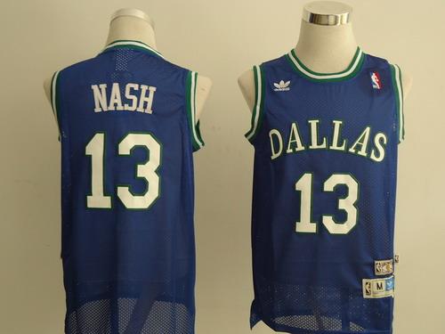 Men's Dallas Mavericks #13 Steve Nash Light Blue Hardwood Classics Soul Swingman Throwback Jersey