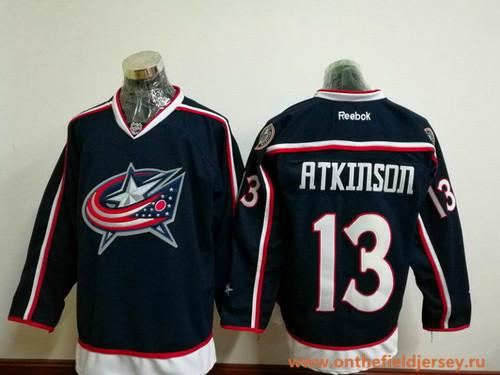 Men's Columbus Blue Jackets #13 Cam Atkinson Navy Blue Home Stitched NHL Reebok Hockey Jersey