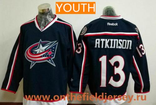 Youth Columbus Blue Jackets #13 Cam Atkinson Navy Blue Home Stitched NHL Reebok Hockey Jersey