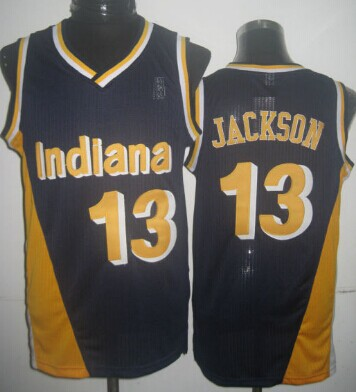 Indiana Pacers #13 Mark Jackson Navy Blue With Yellow Hardwood Classics Soul Swingman Throwback Jersey