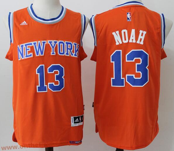 Men's New York Knicks #13 Joakim Noah Orange Stitched NBA adidas Revolution 30 Swingman Jersey