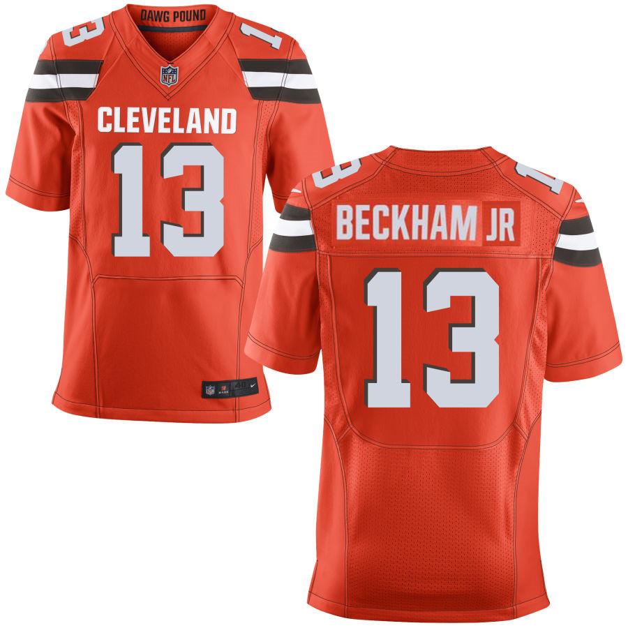 Men's Cleveland Browns #13 Odell Beckham Jr Orange Stitched NFL Nike Elite Jersey
