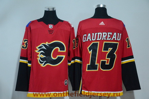 Men's Calgary Flames #13 Johnny Gaudreau Red Home 2017-2018 adidas Hockey Stitched NHL Jersey