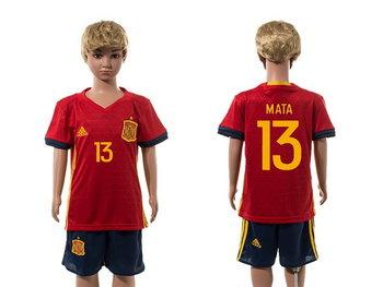 2016 European Cup Spain Home #13 Mata Red Youth Soccer Shirt Kit