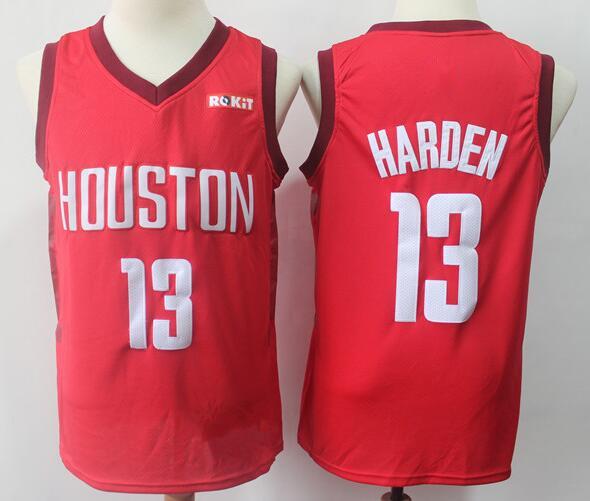 Men's Houston Rockets #13 James Harden 2019 Playoff Red Nike Swingman Stitched NBA Jersey