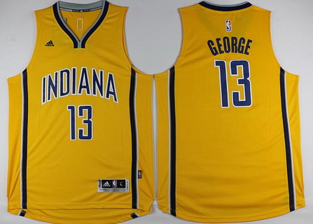 Men's Indiana Pacers #13 Paul George Revolution 30 Swingman New Yellow Jersey