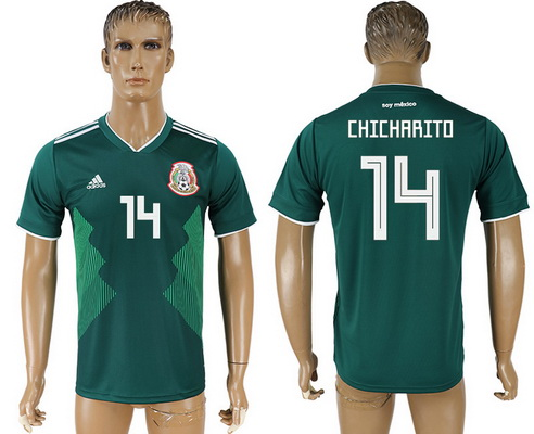 2018 World Cup Mexico National Team Home Green #14 Hernandez Chicharito Men's Soccer AAA+ Shirt