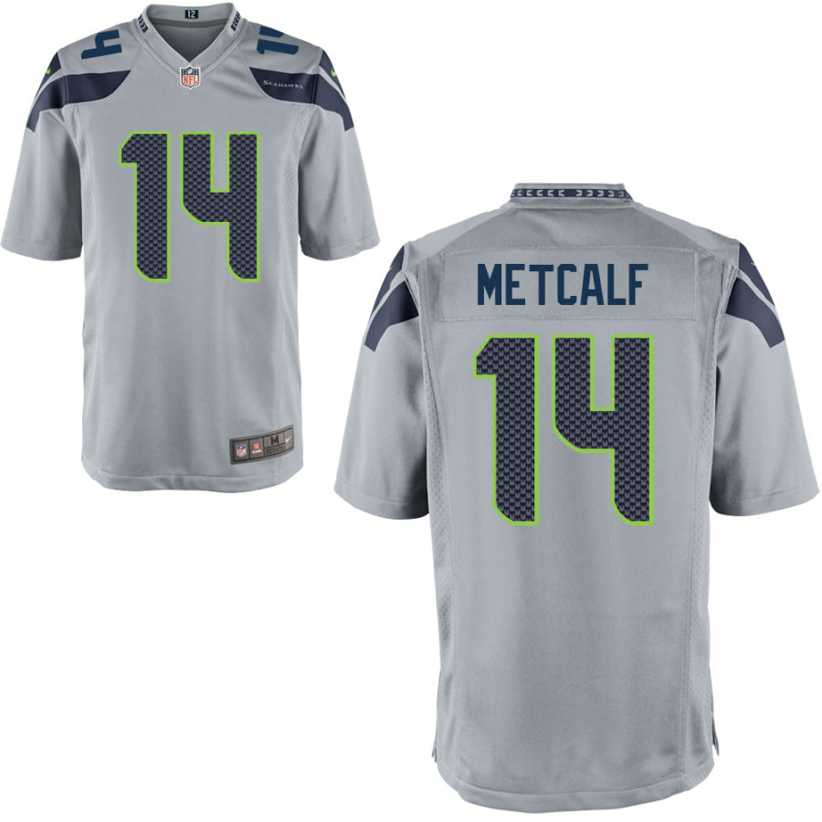Men's Seattle Seahawks #14 DK Metcalf Gray Stitched NFL Nike Game Jersey