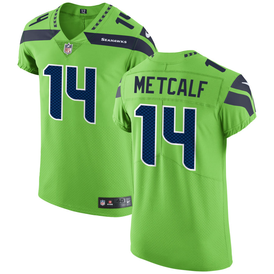 Men's Seattle Seahawks #14 DK Metcalf Green Stitched NFL Nike Game Jersey