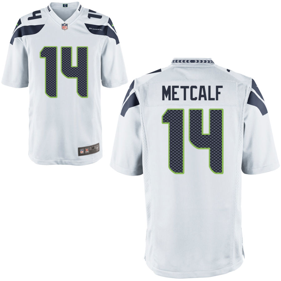 Men's Seattle Seahawks #14 DK Metcalf White Road Stitched NFL Nike Game Jersey