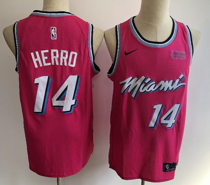 Men's Miami Heat #14 Tyler Herro Pink City Edition Nike Swingman Stitched NBA Jersey