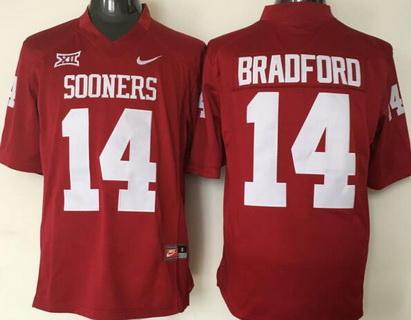 Men's Oklahoma Sooners #14 Sam Bradford Red College Football Nike Jersey