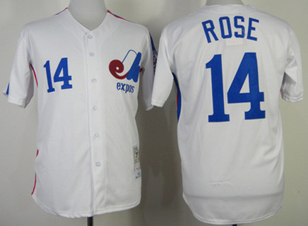 Men's Montreal Expos #14 Pete Rose 1982 White Mitchell & Ness Throwback Jersey