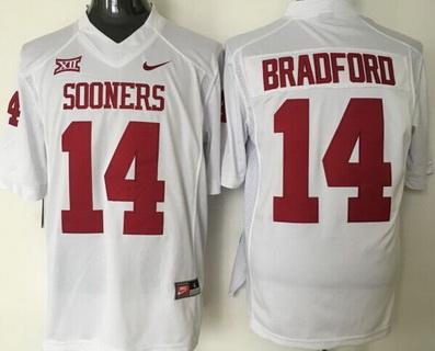 Men's Oklahoma Sooners #14 Sam Bradford White College Football Nike Jersey