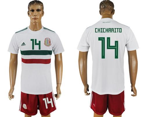 2018 World Cup Mexico National Team Away White #14 Hernandez Chicharito Men's Soccer Shirt Kit
