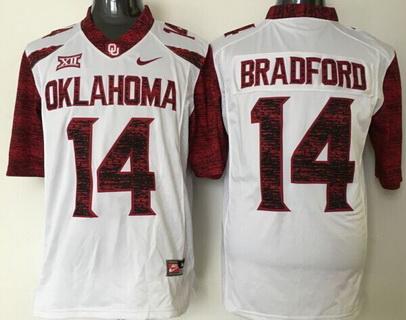 Men's Oklahoma Sooners #14 Sam Bradford White 2016 College Football Nike Limited Jersey
