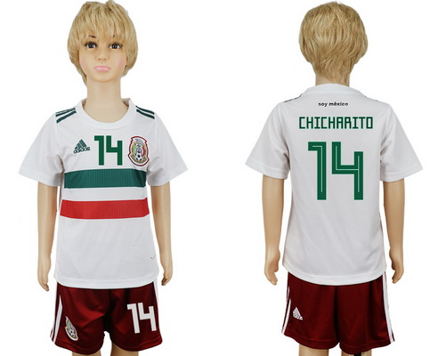 2018 World Cup Mexico National Team #14 Hernandez Chicharito Away White Kids Youth Soccer Shirt Kit