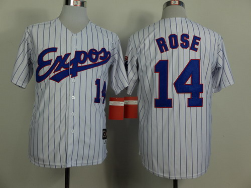 Men's Montreal Expos #14 Pete Rose 1982 White Pinstripe Mitchell & Ness Throwback Jersey