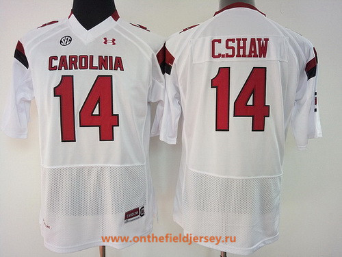 Women's South Carolina Gamecocks #14 Connor Shaw White Stitched College Football Under Armour NCAA Jersey
