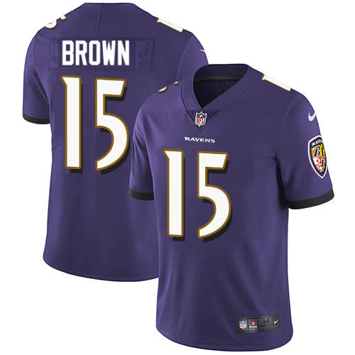Men's Baltimore Ravens #15 Marquise Brown Purple Stitched NFL Nike Limited Jersey