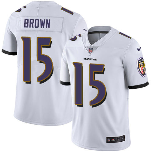Men's Baltimore Ravens #15 Marquise Brown White Stitched NFL Nike Limited Jersey