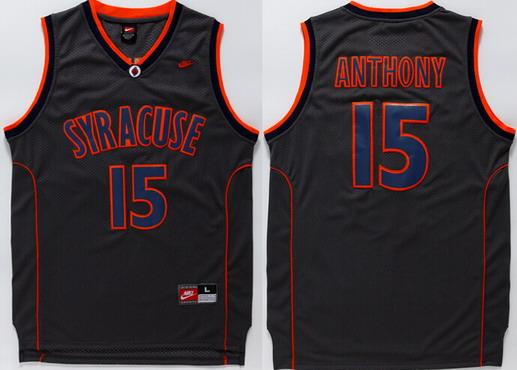 Men's Syracuse Orange #15 Camerlo Anthony Black College Basketball Nike Jersey